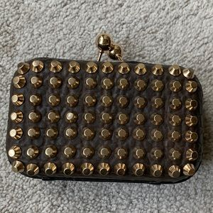 Street Level Triple 7 chocolate leather clutch